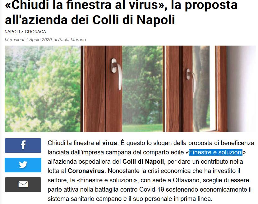 «Chiudi la finestra al virus», la proposta all'azienda dei Colli di Napoli